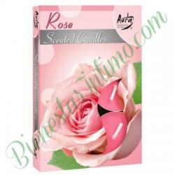 Velas Aromáticas Aura 6ud Rosas